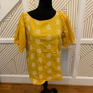 Loft Floral Yellow Blouse Puffered Sleeve